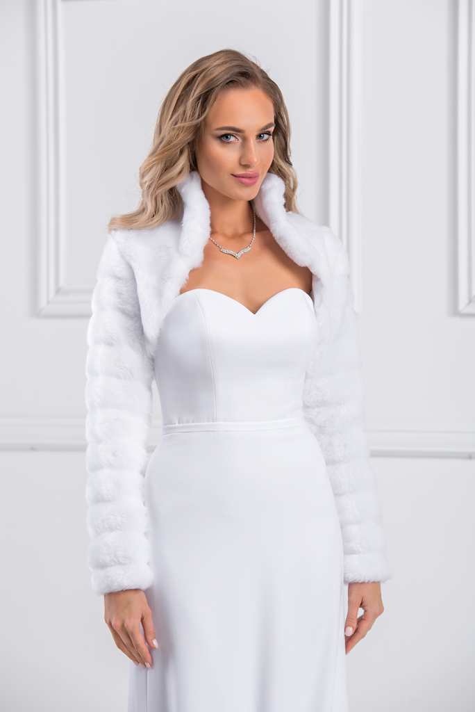 Magnificent warm bridal jacket synthetic fur