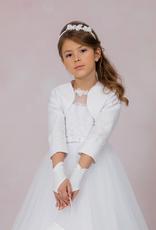 Brautkontor Kids Kommunion Kommunion Bolero aus Satin mit Spitze und Pailletten