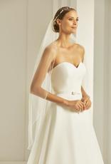 Brautschleier mit Stäbchenkante aus weichem Softtüll