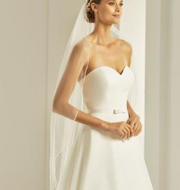 110 cm langer Brautschleier mit Stäbchenkante