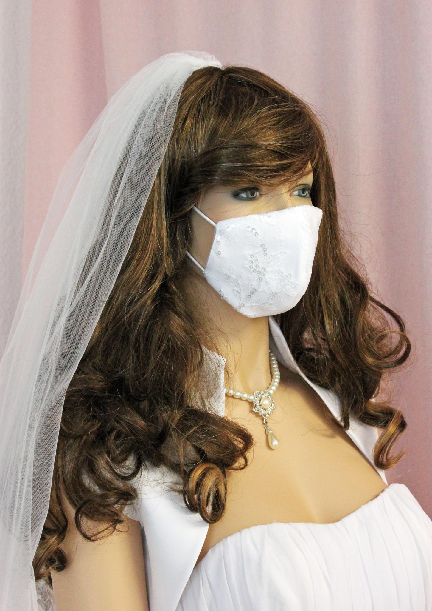Braut Mundschutz Maske in weiß oder ivory mit Spitze für Hochzeit