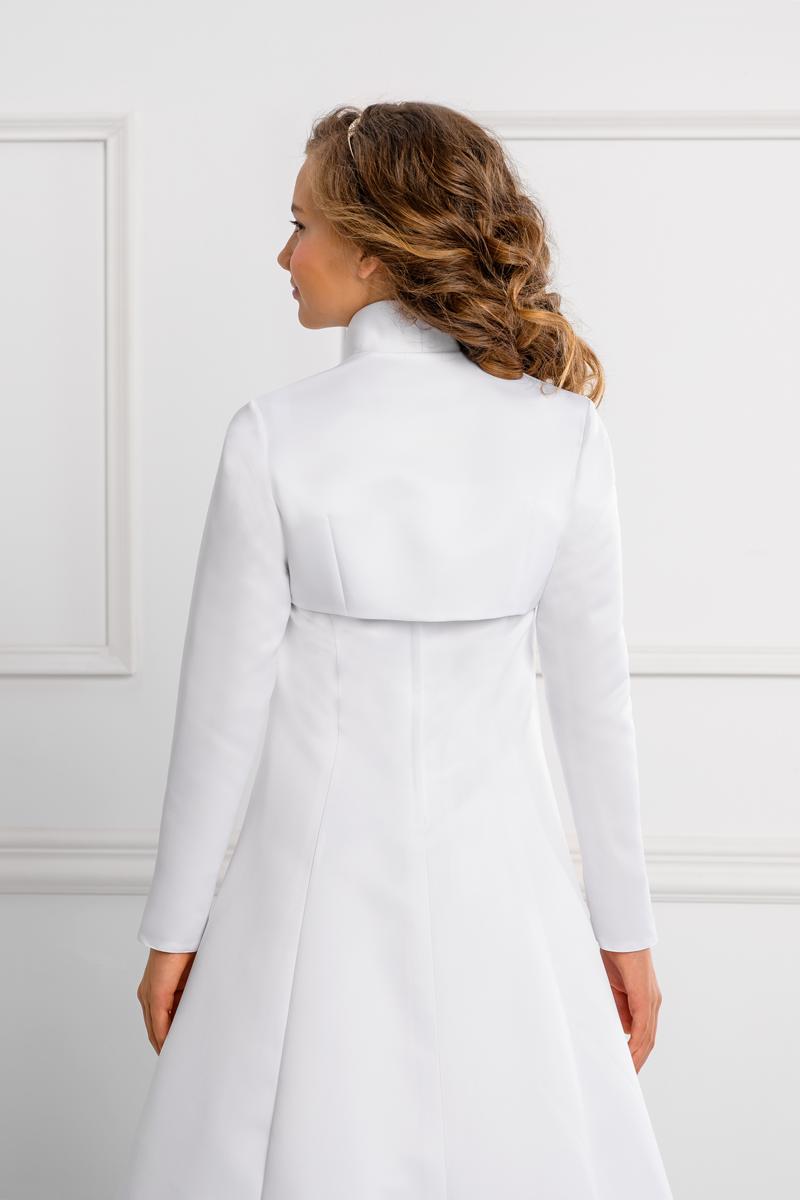 Langarm Kommunion Bolero Jacke aus Satin in weiß oder