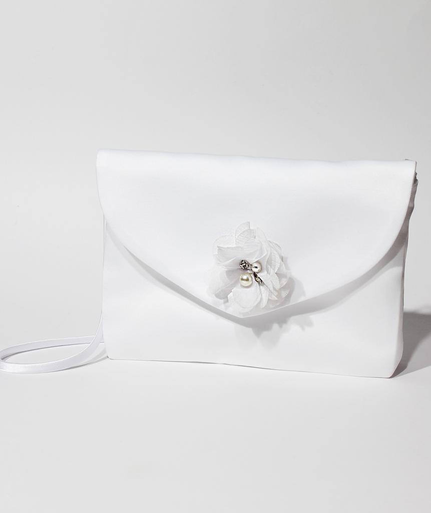 Kommuniontasche mit Blume in weiß oder creme