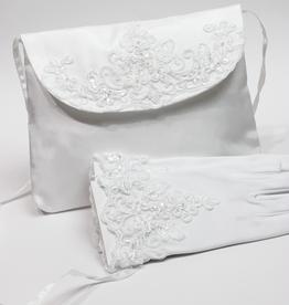 Kommuniontasche und Handschuhe mit Spitze