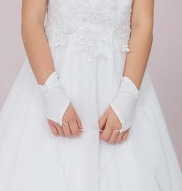 Brautkontor Kids Kommunion Kommunion Handschuhe fingelos mit Perlen
