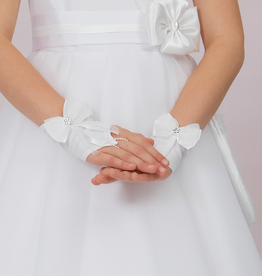 Brautkontor Kids Kommunion Kommunion Handschuhe fingelos mit Schleife