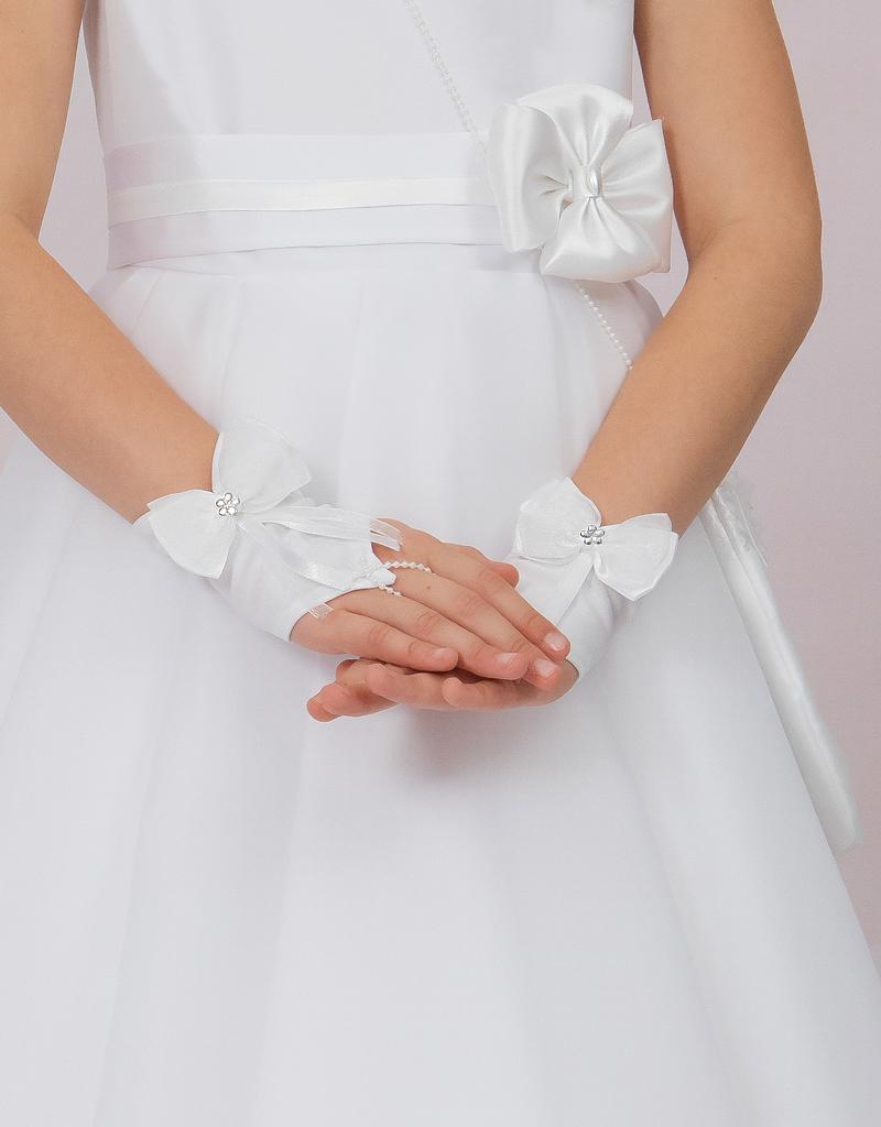 Brautkontor Kids Kommunion Kommunion Handschuhe für Mädchen mit Schleife