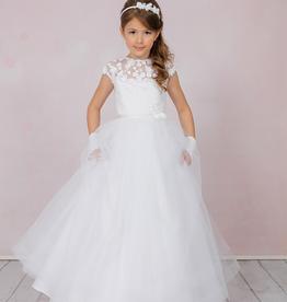 Brautkontor Kids Kommunion Weißes Kommunionkleid mit 3D Blumen Spitze