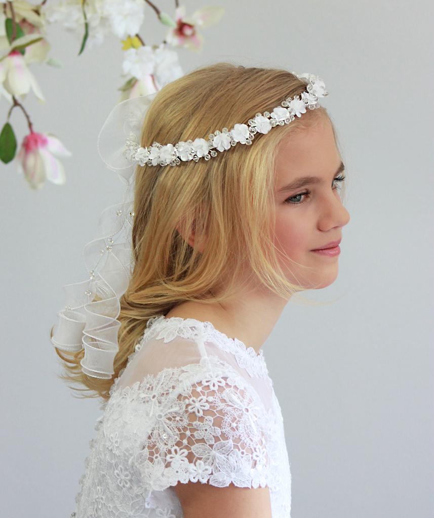 Kommunion Haarkranz mit Kristallen und  Blumen