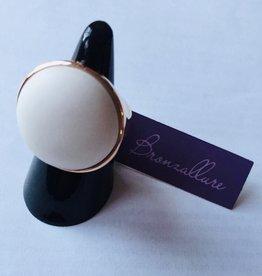 Bronzallure Bronzallure ring rose goud met witte agaat steen