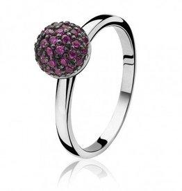 zinzi Zinzi zilveren ring met roze zirkonia bol