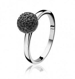 zinzi Zinzi zilveren ring met zwarte zirkonia bol