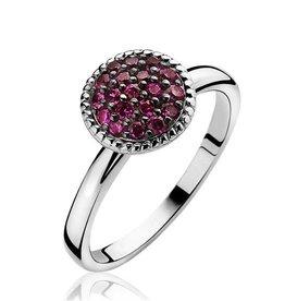 zinzi Zinzi zilveren ring roze swarovski steentjes 930