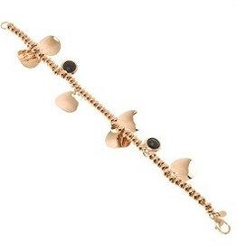 Bronzallure Bronzallure rose gouden armband blaadjes en onyx uitverkocht
