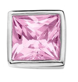 Enchanted Jewels enchanted jewels bedel zilver met licht roze zirkonia vierkant