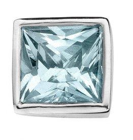 Enchanted Jewels enchanted jewels bedel zilver met blauw zirkonia vierkant