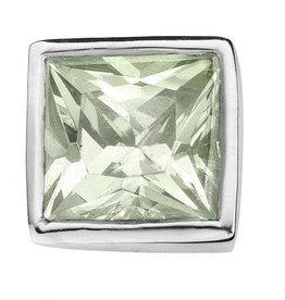 Enchanted Jewels enchanted jewels bedel zilver met lichtgroen zirkonia vierkant