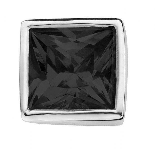 Enchanted Jewels enchanted jewels bedel zilver met zwart zirkonia vierkant