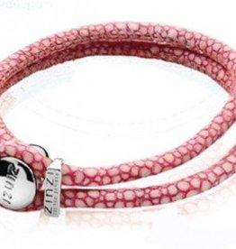 zinzi Zinzi roze roggen leren armband
