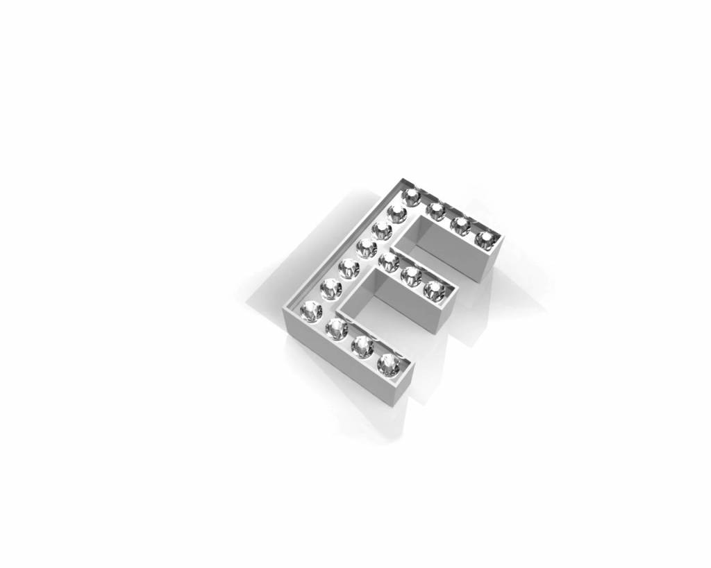 Key Moments Key Moments zilveren letter E met swarovski
