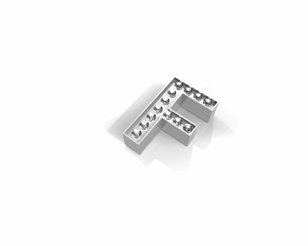 Key Moments Key Moments zilveren letter F met swarovski