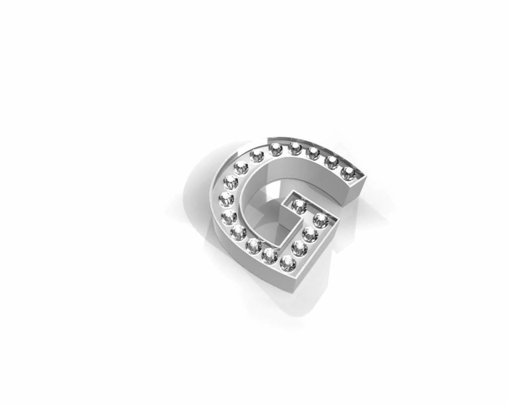 Key Moments Key Moments zilveren letter G met swarovski