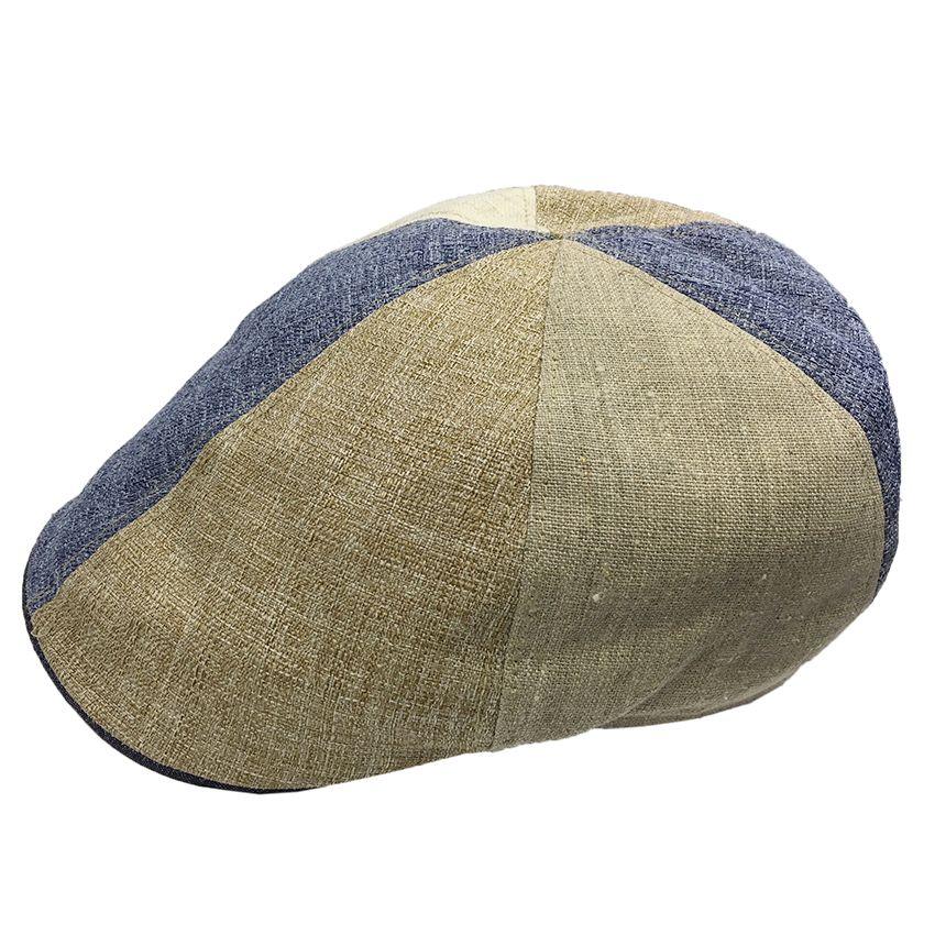 BJ Uomo flat cap patchwork beige / blue