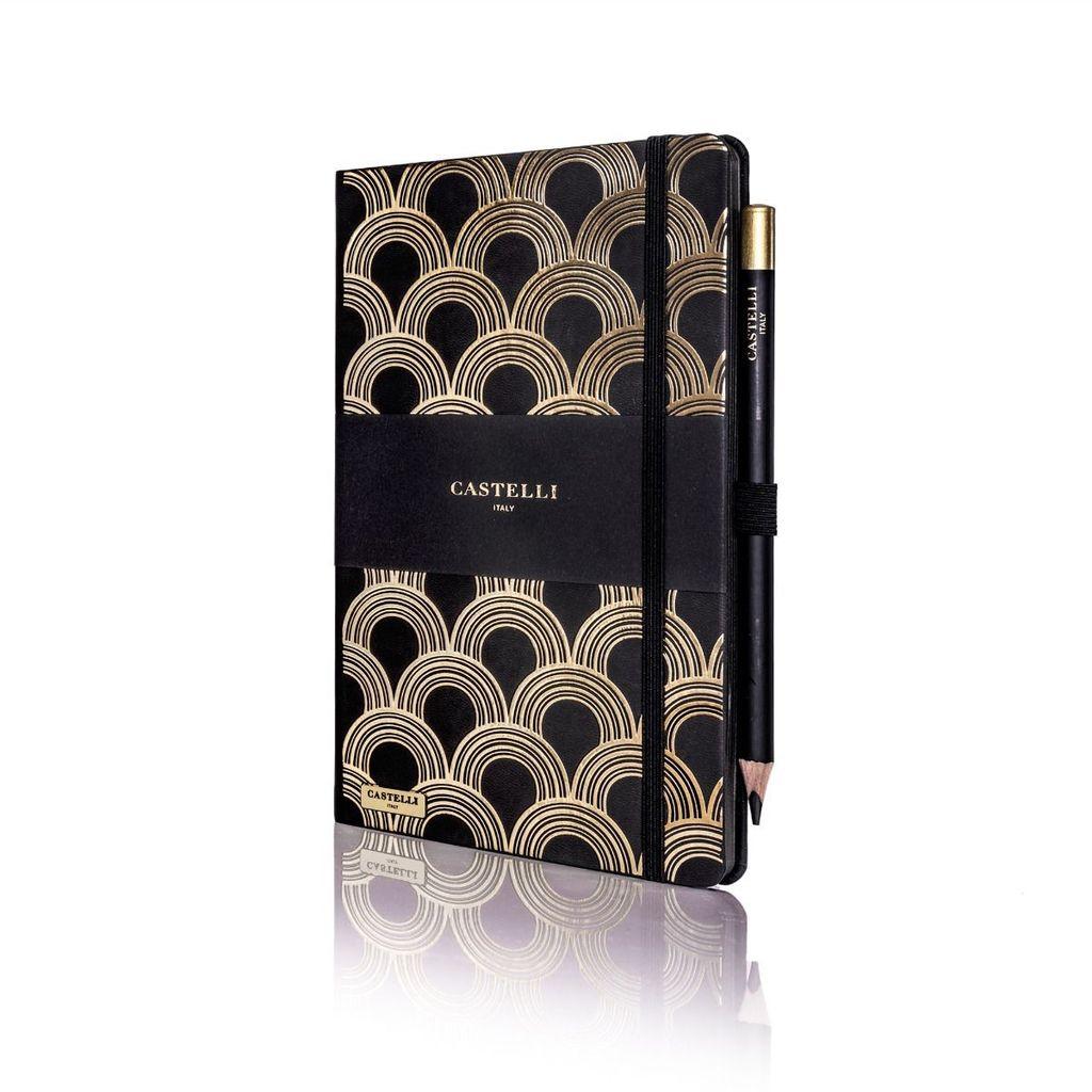 Castelli Italy muistikirja Art Deco Ivory Gold
