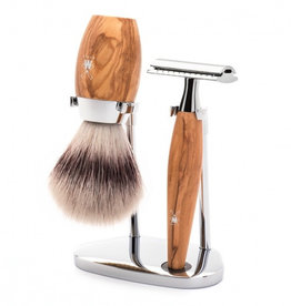 Mühle parranajosetti Oliivipuu -safety razor, silvertip fibre