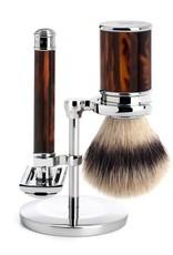 Mühle parranajosetti tortoiseshell -safety razor, silvertip fibre