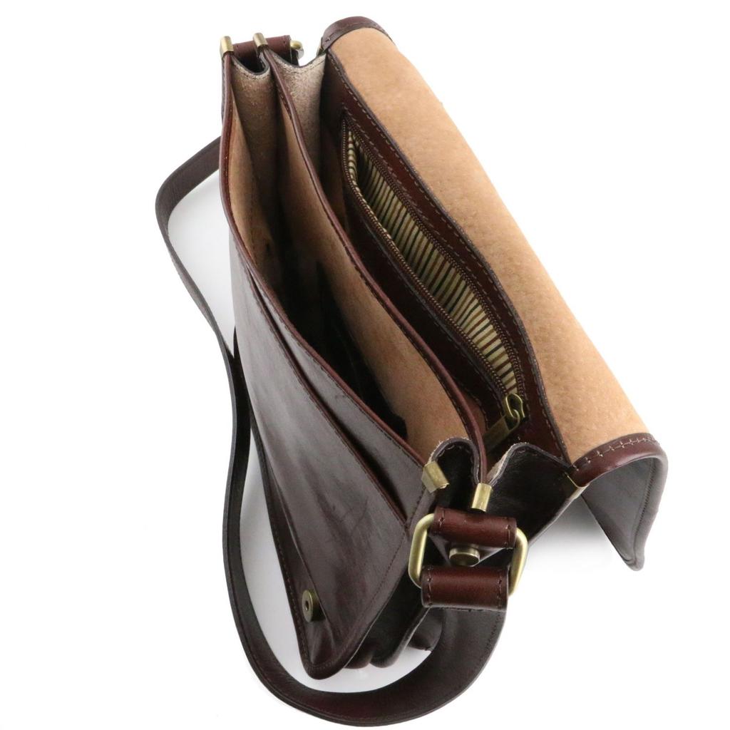 Tuscany Leather Messenger nahkalaukku tummanruskea