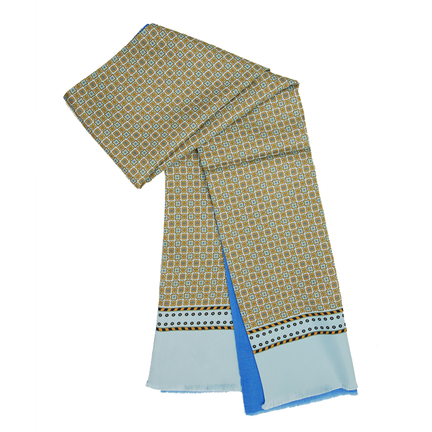 Bojua silkkihuivi silkkiä ja villaa ruskea/sininen