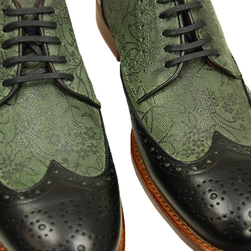 Vihreä nahkakenkä kuviolla⎪Cerruti Sergio