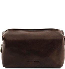 Tummanruskea nahkainen toilettilaukku⎪Tuscany Leather