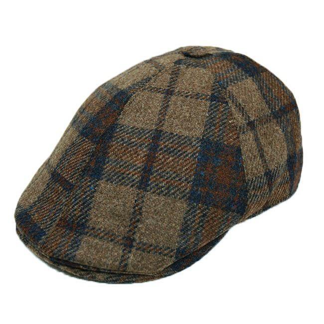 Ruskea flat cap ruutukuviolla⎪Bojua