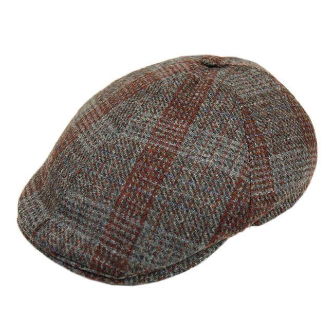 Harmaa flat cap ruutukuviolla⎪Bojua