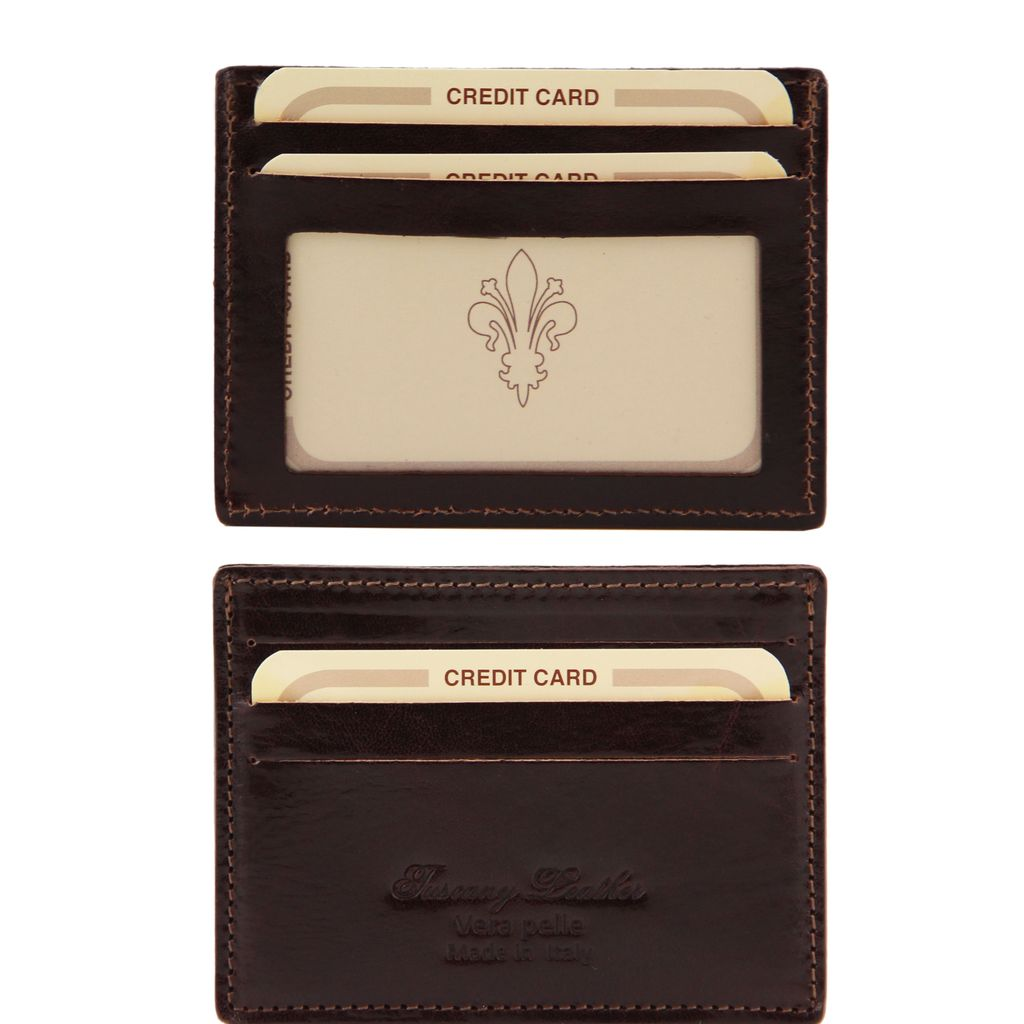 Tuscany Leather korttilompakko tummanruskea