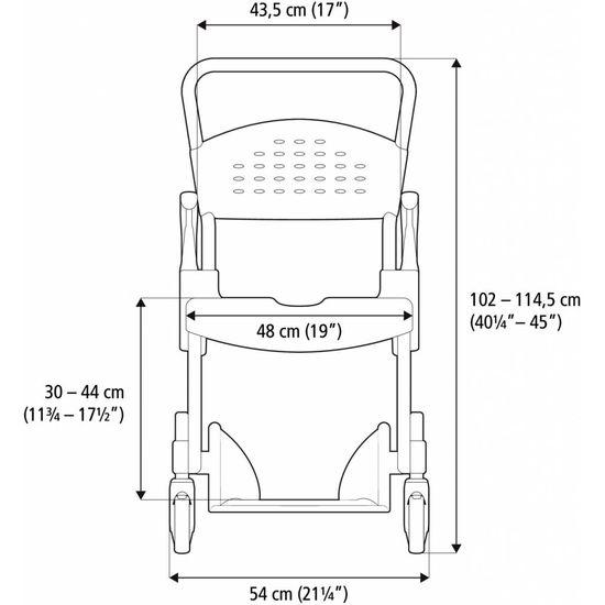 Etac Etac Clean douche toiletstoel in hoogte verstelbaar
