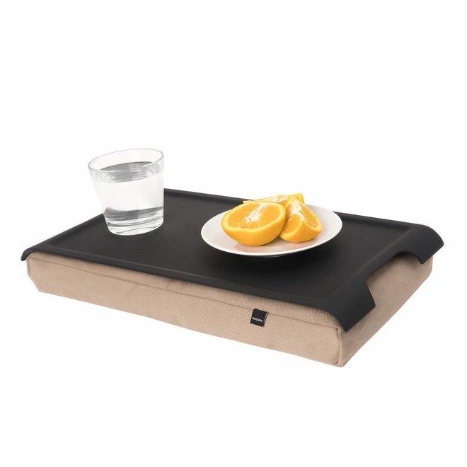 Mini laptray/ schoottafel antislip zand/antislip zwart