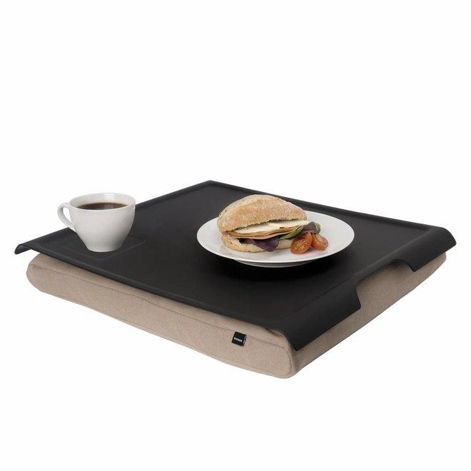 Laptray/schoottafel antislip zand/zwart