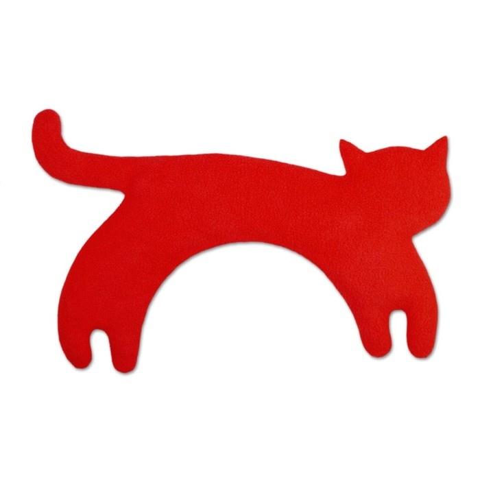 Fleece warmtekussen kat rood
