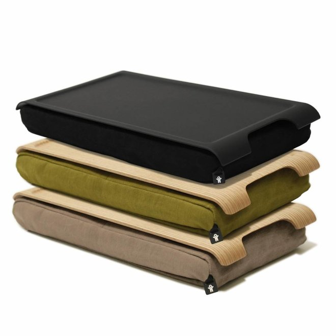 Mini laptray/ schoottafel olijfgroen/bruin