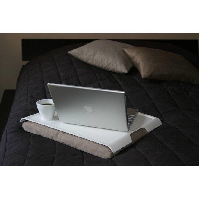 Laptray/schoottafel zandbruin/wit hout