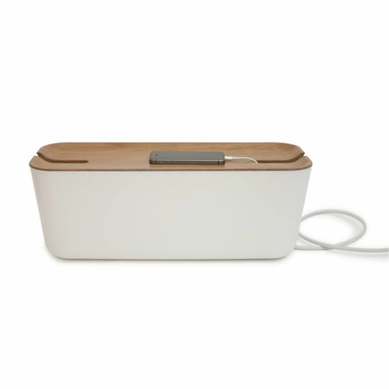 Bosign Cable organiser hideaway XL white/natural wood