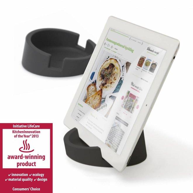Tablet standaard/ kookboekhouder grijs