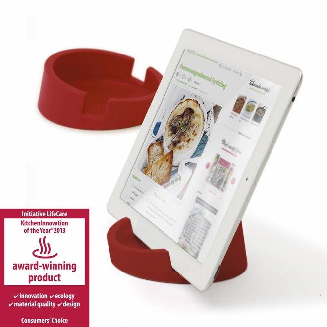 Tablet standaard/ kookboekhouder rood