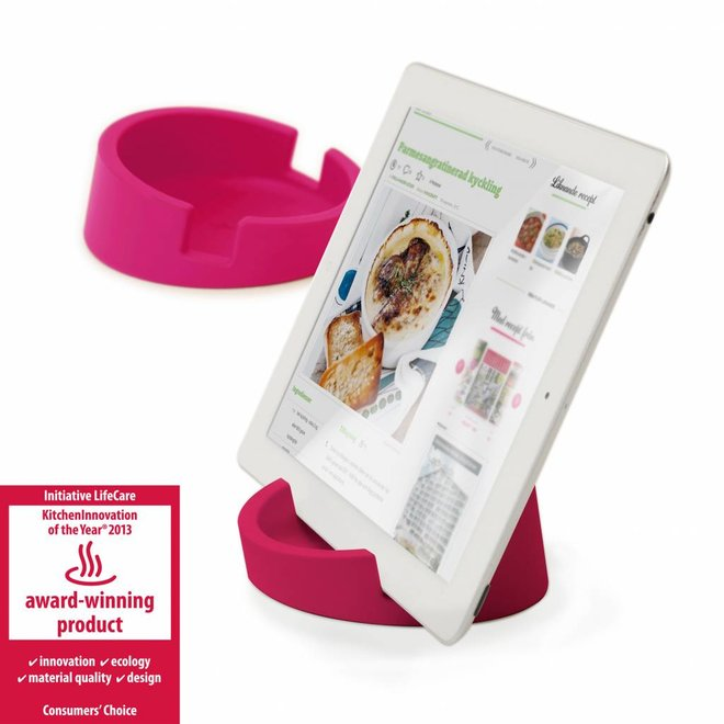 Tablet standaard/ kookboekhouder roze