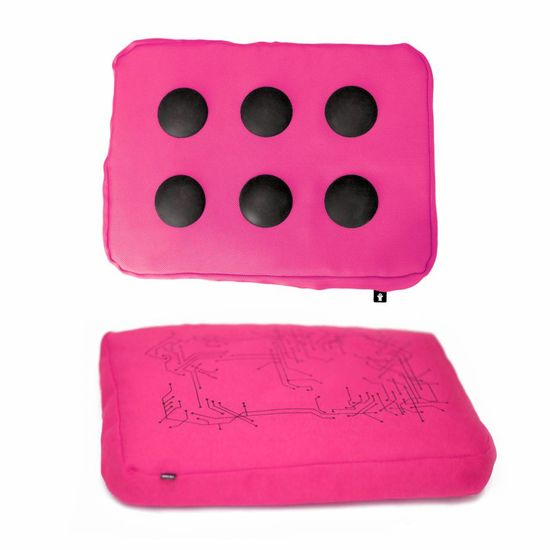 Laptopkussen roze/zwart polyester