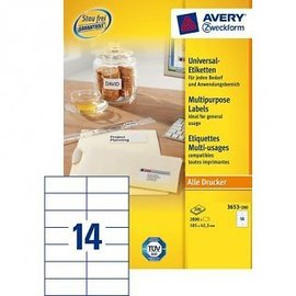 Zweckform Etiket Avery zweckform 3653 105x42.3mm wit 2800stuks