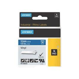 Dymo Labeltape Dymo rhino 18052 12mmx5.5m vinyl wit op blauw